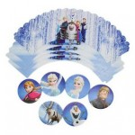 Disney's Frozen Dark Blue Icy Accents 6 x Cupcake Wrappers & 6 x Toppers Set