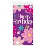 Flower Power Happy Birthday Table Cover