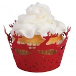 Red Reindeer Cupcake Wrappers